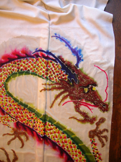 detail of the dragon kimono front