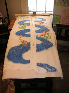 view of the water kimono front being painted