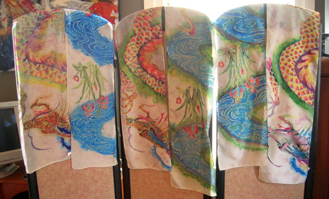 dragon and water scarves