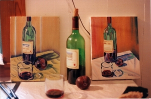 2 bottle paintings and the original, oil 8x10