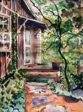 "my studio  in rabun gap, watercolor, 12x16\"" width="