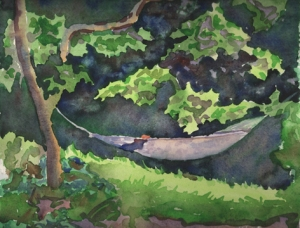 jim\'s backyard in virginia, watercolor, 8x10