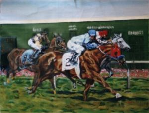 "my riend norris\' racehorse urigo, oil 14x22\"" width="