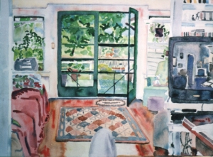 "interior pete\'s house, florida, watercolor, 16x20"" width="
