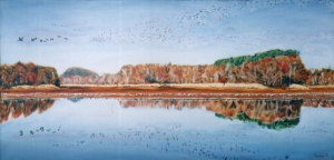 "sandhill cranes on the tennesse river, oil, 24x48"" width="